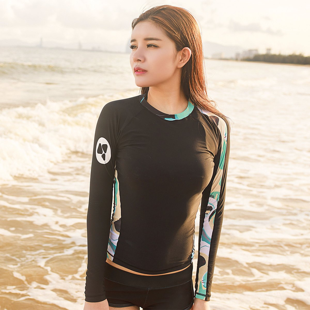 ALEEYA Rash Guard Women Long Sleeves Swimsuit Swimwear Diving Surfing Kayaking Boating Swimming Rashguards UV Protection T-Shirt Bathing Suit Quick Dry Fitness Yoga Beach Pools Rash Guard Lady