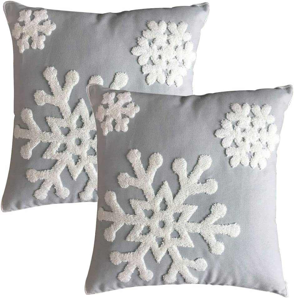 LEHOUR Soft Square Christmas Snowflake Home Decorative Canvas Cotton Embroidery Throw Pillow Covers 18x18 Cushion Covers Pillowcases for Sofa Bed Chair (1 Pair, Grey)