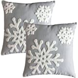 """E.life Soft Square Style Cotton Throw Pillow Case Cushion Cover Decorative 18x18"""" (1 Pair, Gray)"""