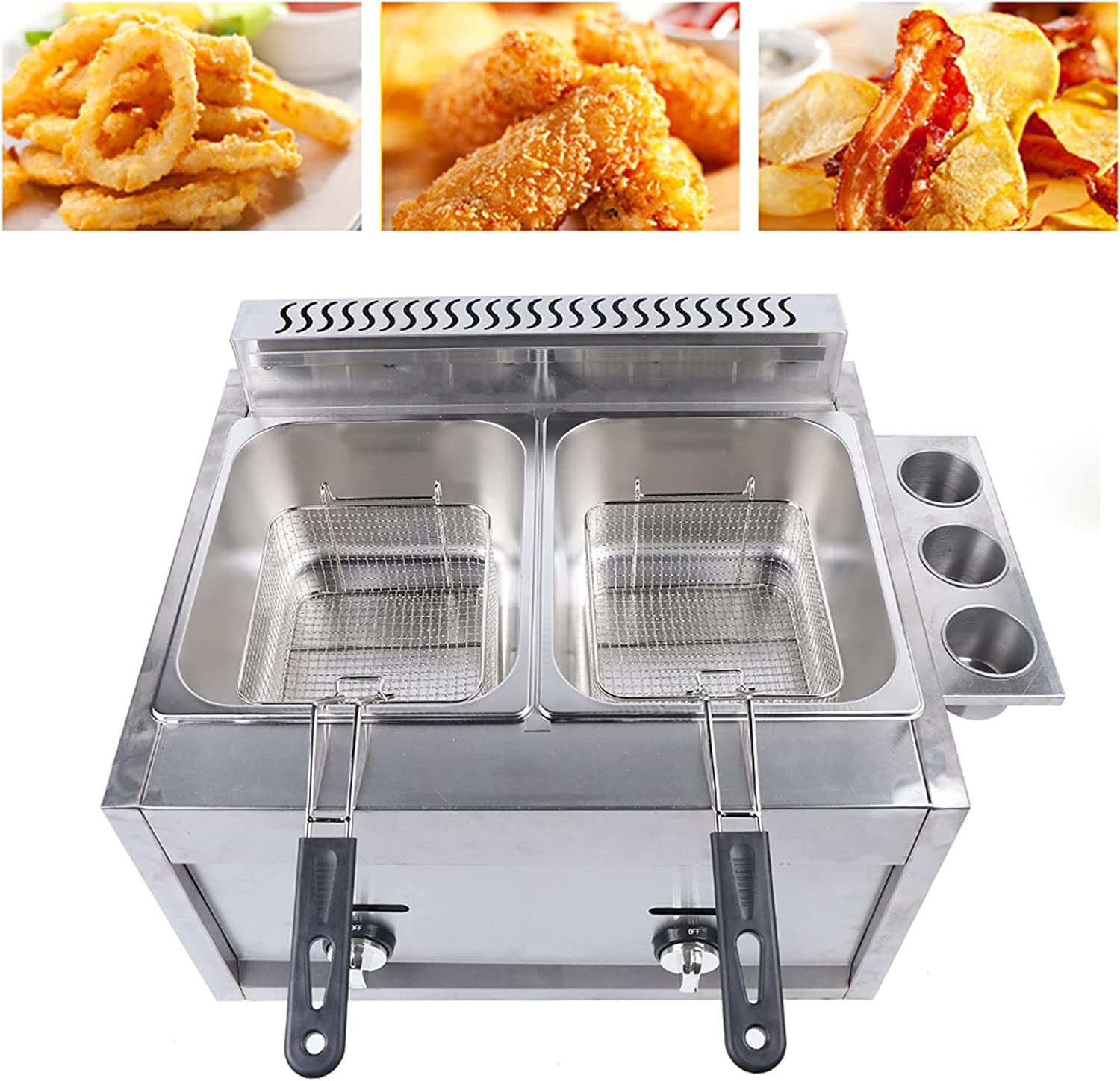 Gdrasuya10 Commercial Countertop Deep Fryer,Propane /Gas Multifunctional Stainless Steel Non Smoke Double Deep Fryer for Commercial/Home French Fries,18000Btu / hr (2x6L)