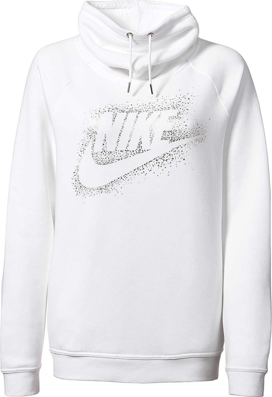dcc082f9b208 Nike Women s Sportswear Rally Metallic Funnel Neck Graphic Hoodie  (White Metallic Silver