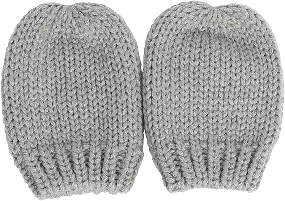 Baby Hat Mitten Set Winter Knitted Cap Warm Beanie Hat with Cute Ears Anti-Scratching Gloves Set for 0-18M Babies