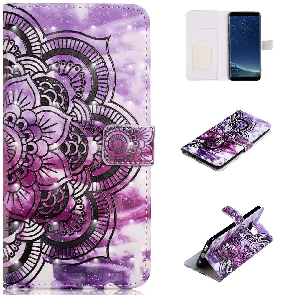 Qkldm Coque Galaxy S8 Coque 3D Portefeuille Té lé phone Stand Couverture avec Slots Carte de Cré dit Flip é tui de Protection fü r Samsung Galaxy S8 (5.8) Coque