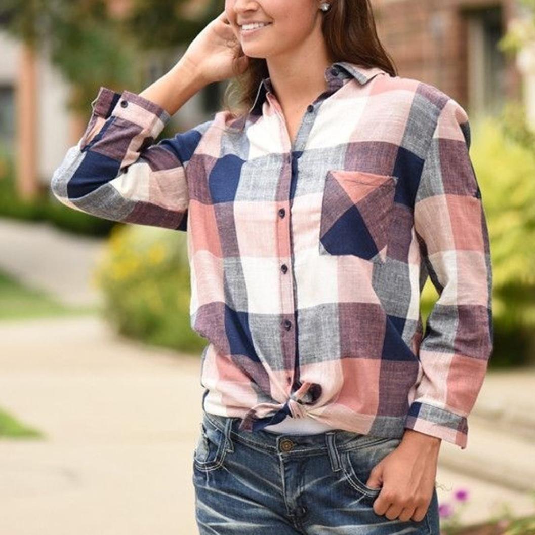 Fossen Mujer Camisa de Cuadros de Manga Larga a Botón Casual Color Femenino de Mujer Blusas Camiseta Tops: Amazon.es: Ropa y accesorios