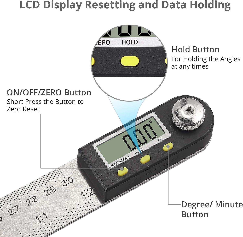 Neoteck Medidor de /Ángulos Digital 200mm Regla del Nivel HOLD y Puesta a Cero Restablecimiento de la Pantalla LCD Regla de /Ángulo del Medidor Electr/ónico de Nivel de Burbuja