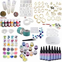 NewVersion- Epoxy Resin UV Glue Kit Clear Transparent Solar Curing with Lamp Molds Liquid Color Pigments 30 Bezels for…