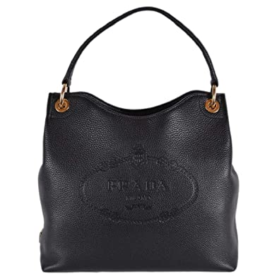 Image Unavailable. Image not available for. Color  Prada Women s Vitello  Daino Black Leather ... 503327b06078e