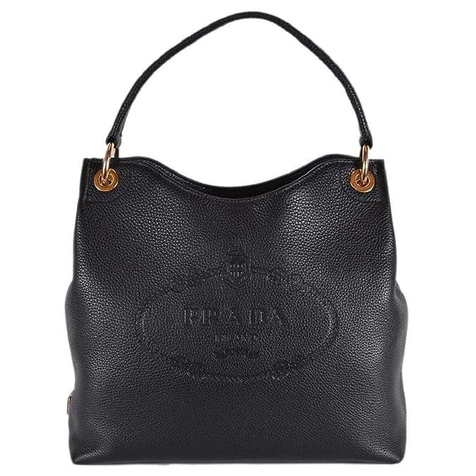 f75e3cea2309 Prada Women's Vitello Daino Black Leather Satchel Bag Handbag 1BC051:  Handbags: Amazon.com