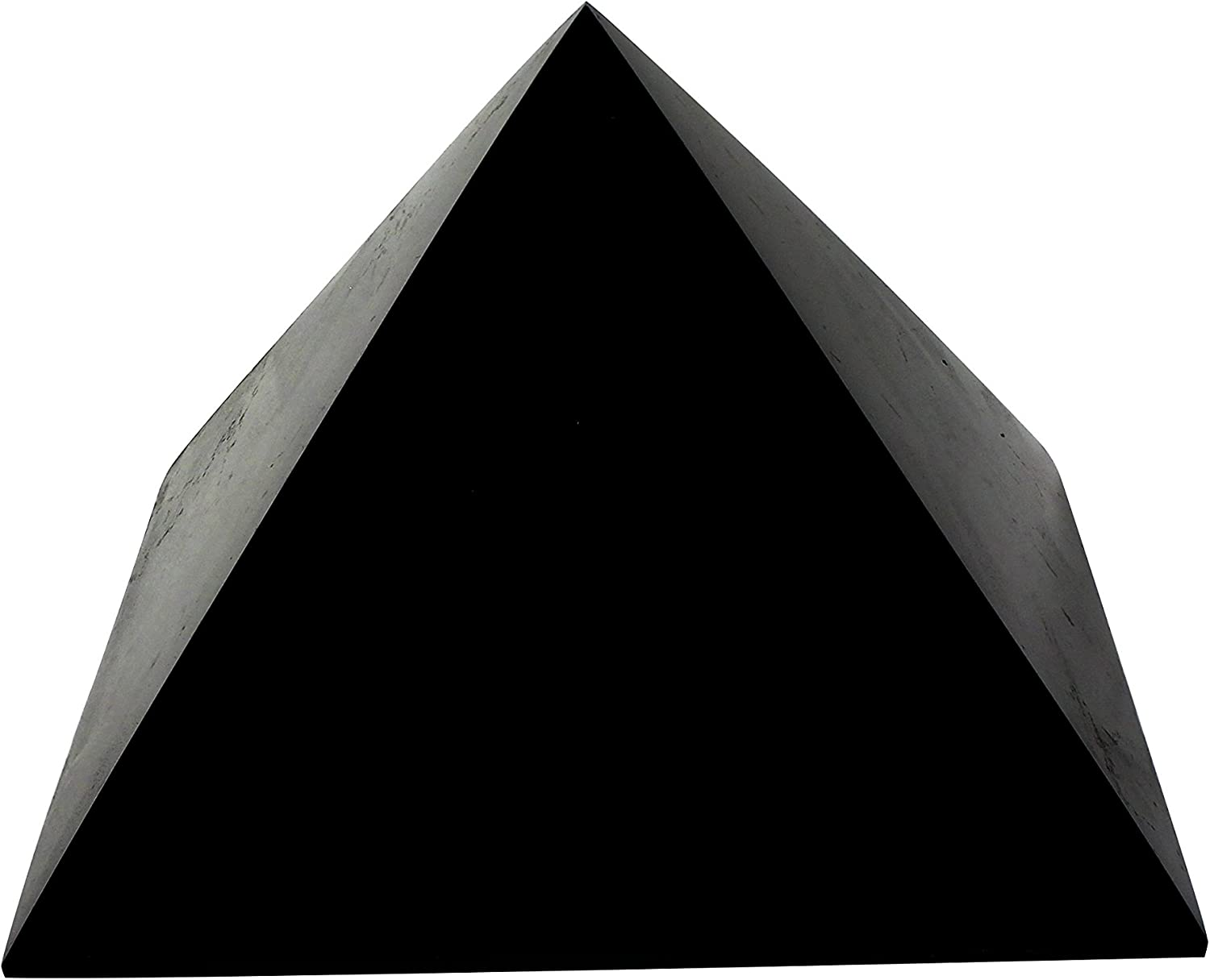 Heka Naturals Polished Shungite Pyramid 6 Inches, Contains Fullerenes for EMF Protection | Authentic Anti-Radiation Shungite Stone Figures from Karelia, Russia | 6 inch Pyramid, Polished