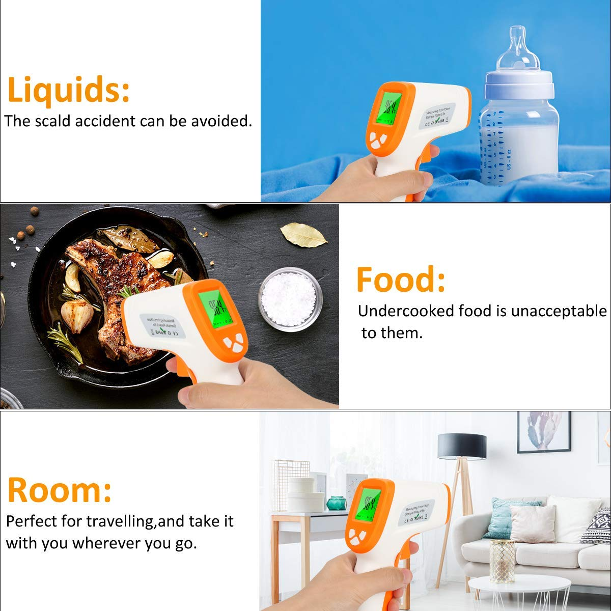 Infrared Forehead Thermometer iCode Ear and Forehead Thermometer with 3 Color Backlight Alarm,˚C 2 Pack ˚F Switch with Instant Reading Fever Warning