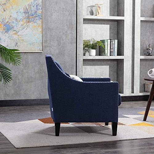 Tufted Fabric Club Chair Living Room Accent Chair Comfy Single Sofa Chair