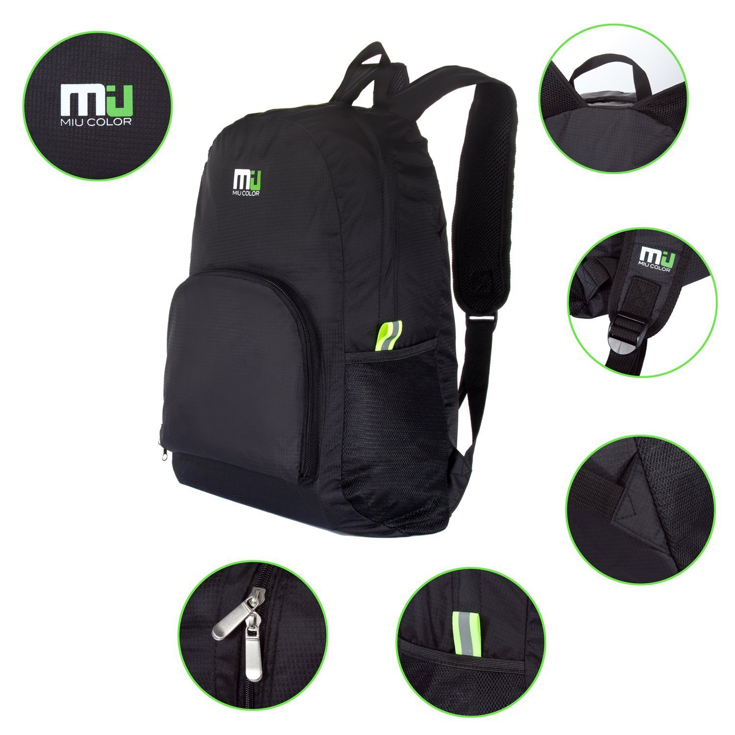 6e2c41b46c Amazon.com  MIU COLOR Foldable and Durable Lightweight Backpack ...