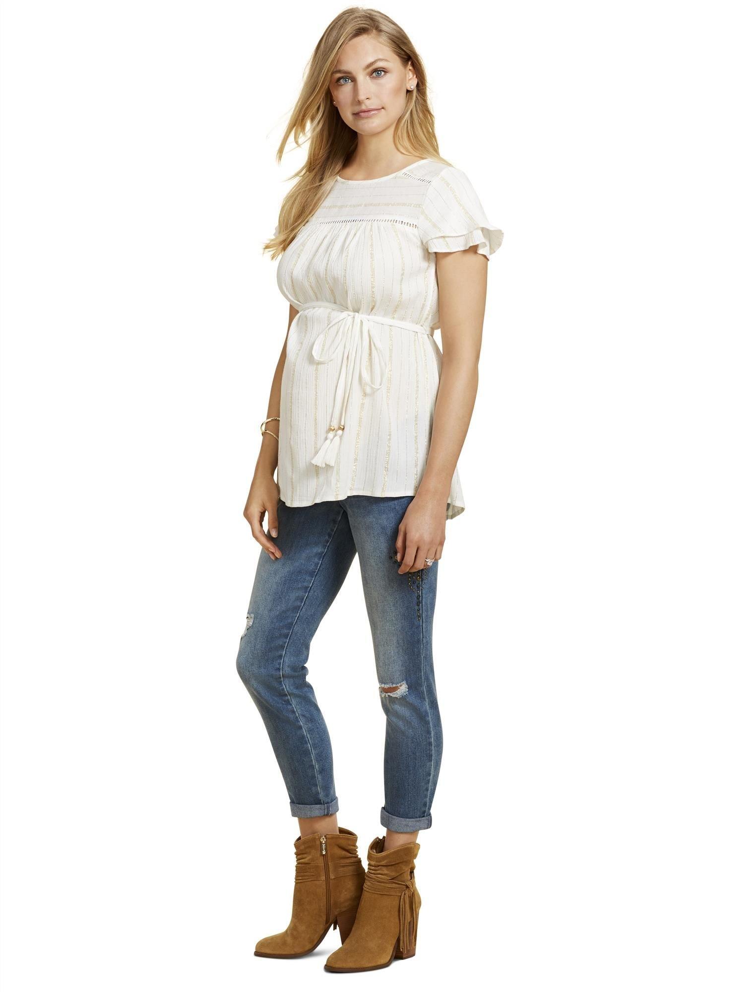 Jessica Simpson Secret Fit Belly Straight Leg Maternity Crop Jeans