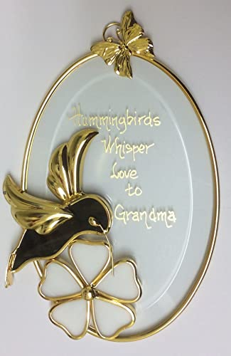 Hummingbird Stained Glass Oval for Grandma