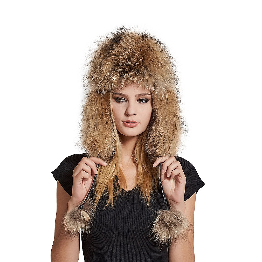 Fur Story Women's Trapper Hat with Sheep Leather Earmuffs(Raccoon Fur)