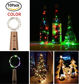 20 LED 2M Botella de luces con corcho 10 Pack con pilas Corcho de cobre Alambre