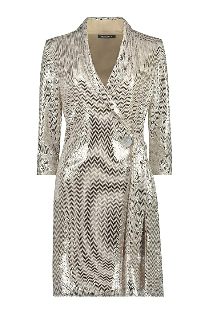Roman Originals Vestido de Fiesta con Lentejuelas para Mujer, para Navidad, Año Nuevo, Glam Disco, Purpurina, metálico, Brillante, Esmoquin, Esmoquin