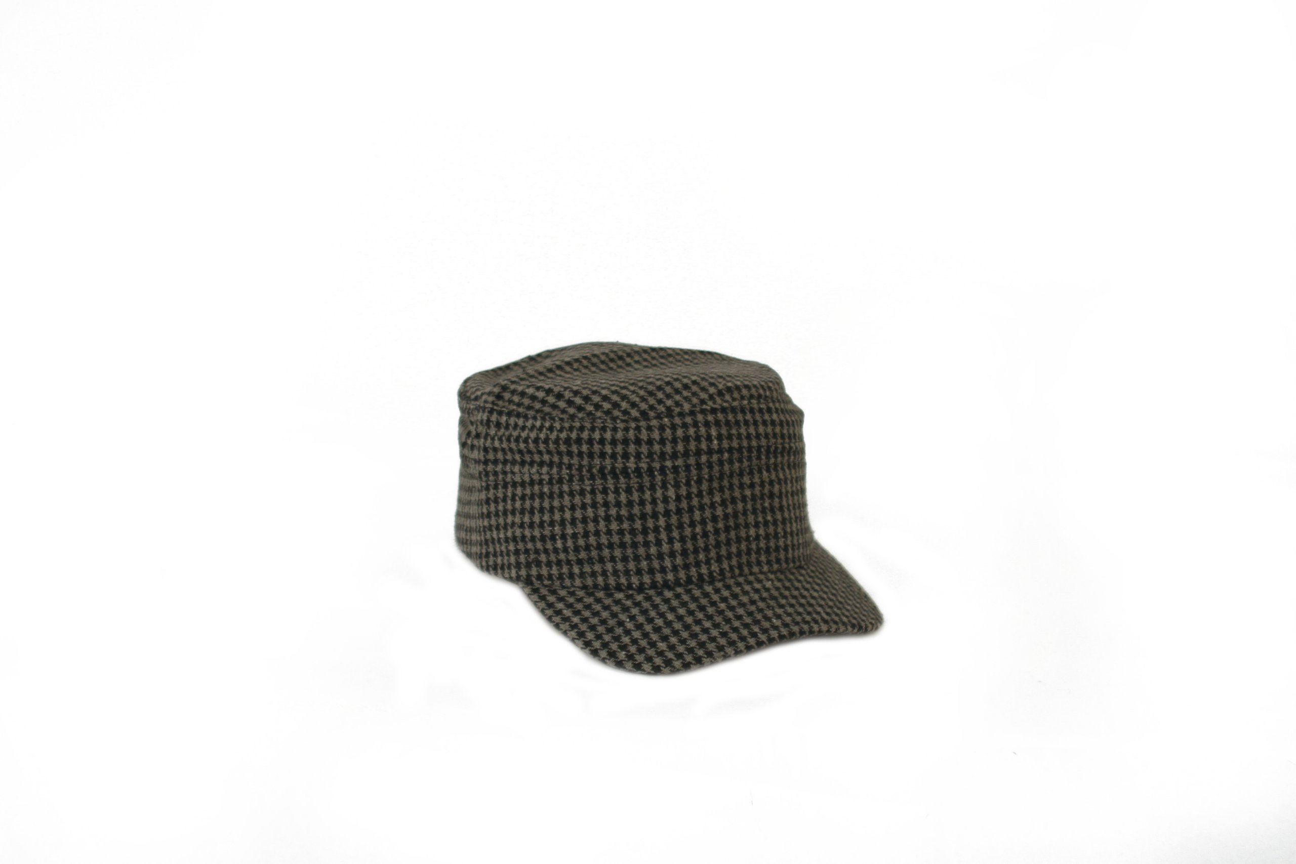 Women's Hounds Tooth Checked Military Cadet Style Hat 301HT (Gray)