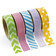 Fun Express BB13644658 Paper Primary Patterned Washi Tape Set, 5 Rolls