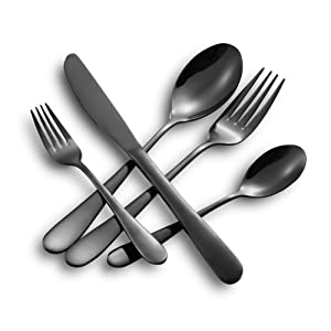 Hoften 20 Piece Black Silverware Set, Stainless Steel Flatware Set Include Fork Spoon Knife Utensils for Daily Use and Party, Cutlery Set Service for 4, Safe in Dishwasher(HD822-BL)