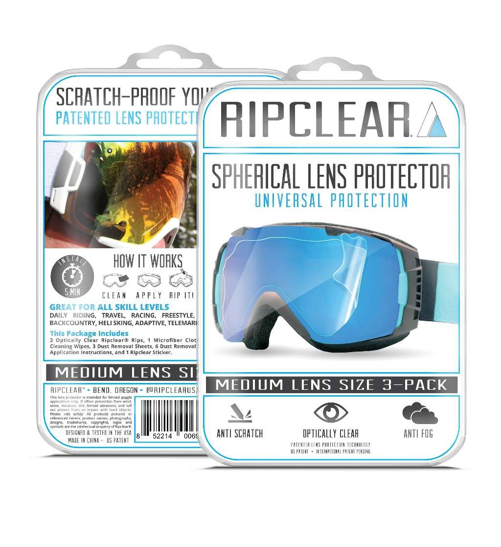 RIPCLEAR Oakley Airbrake Snow Goggle Lens Protector Kit - Scratch-Resistant, Crystal Clear - 3-Pack by RIPCLEAR