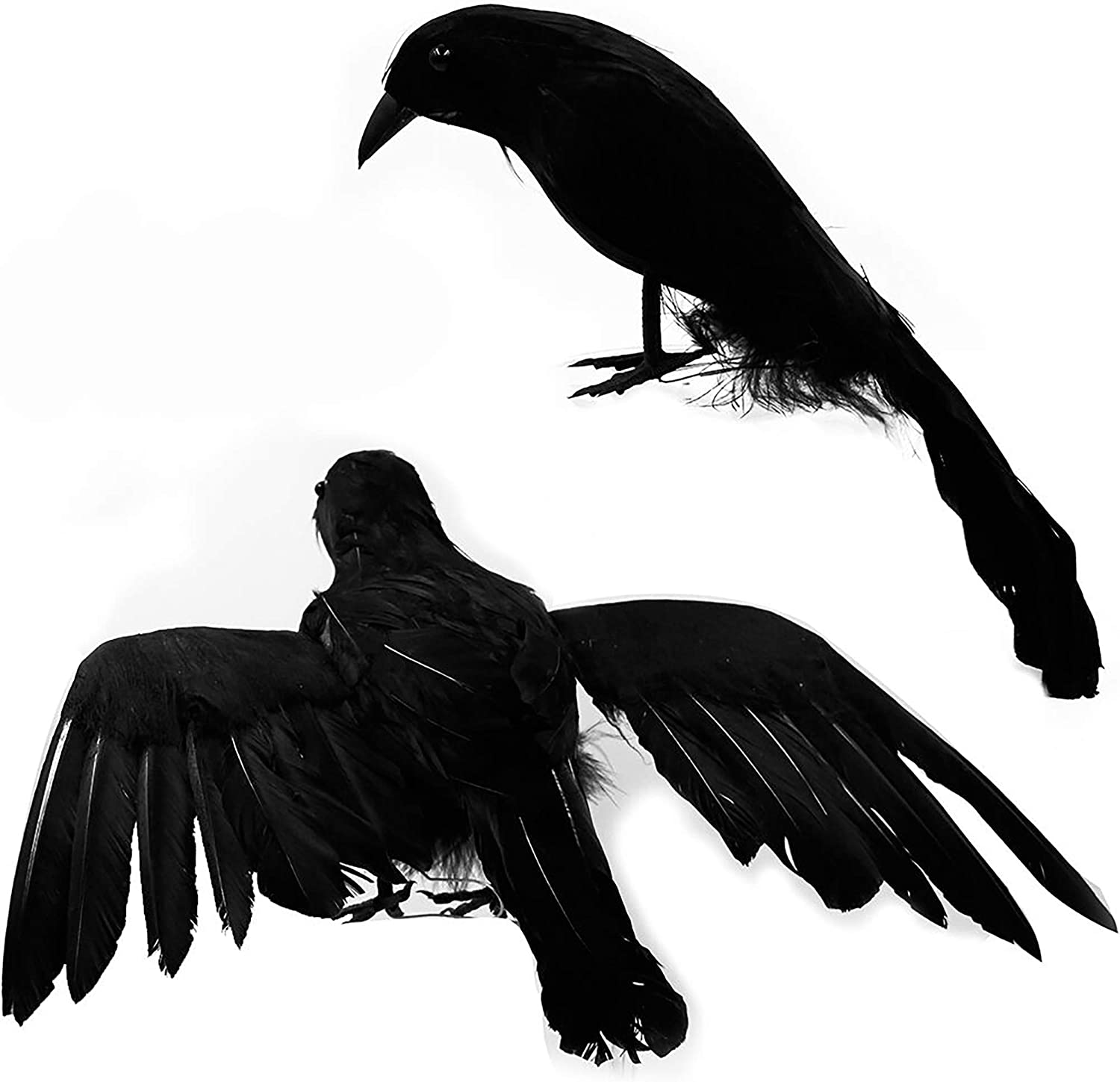 Optimisland Halloween Black Feathered Crows, Realistic Looking Halloween Decoration Birds, 2 Pack