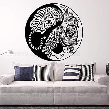 Wall Stickers Dragon Crouching Tiger Hidden Dragon Wallpaper Poster Home Decoration Yin Yang Vinyl Art 100x100cm Amazon Co Uk Diy Tools