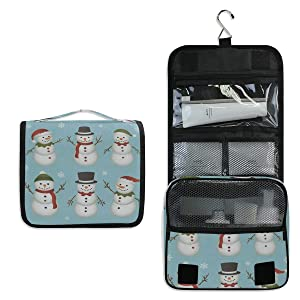 SLHFPX Hanging Toiletry Bag Cartoon Cute Snowman Snowflake Travel Organizer for Makeup and Toiletries for Men Women,Hang Case for Cosmetics and Toilet Accessories with Metal Swivel Hook