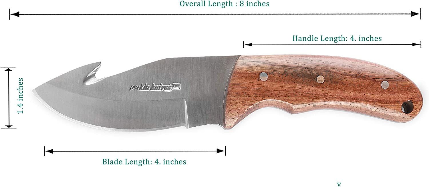 Perkin Knives GT703 Hunting Knife with Gut Hook Fix Blade Knife with Sheath