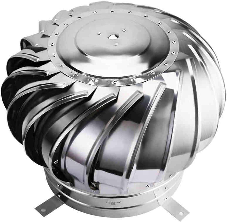 LTLGHY Extractor De Humo Giratorio De Viento, Aspirador Sombrero Eolico para Chimeneas Estufa De Acero Inoxidable Base Redonda para Tubo De 300-450mm De Diámetro,350mm