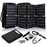 ECEEN 26 Watts Foldable Solar Panel Power Kits Portable Solar Charger Bag (USB Port + 18V Dc Output) + 16K mAh Laptop Power Battery Pack for Smart Cell Phones, Notebooks, Laptops etc. Devices