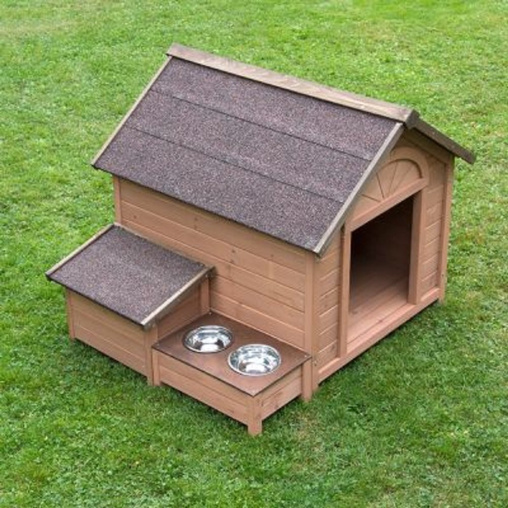 Comfort Dog Kennel pitched roof raised feeding area wooden garden outside storage box