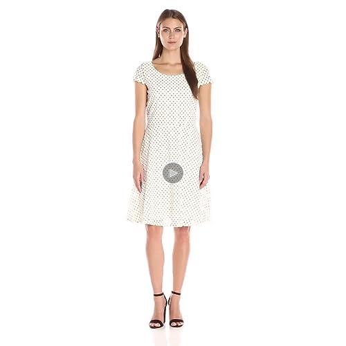 Ronni Nicole Women's Dot Circle Lace Fit-and-Flare Lace Dress