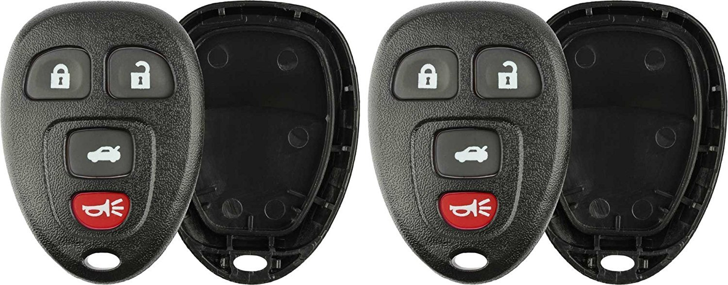 CanadaAutomotiveSupply © - 2 New Replacement 4 Button Keyless Entry Remote Key Fob Shell Case and Button Pad Compatible with 15252034