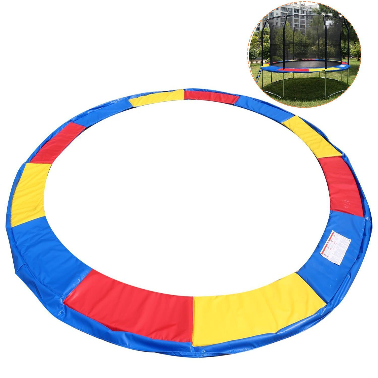Trampoline Pad Cover 14 FT Trampoline Safety Pad EPE Foam Spring Cover Frame Replacement Multi Color US STOCK