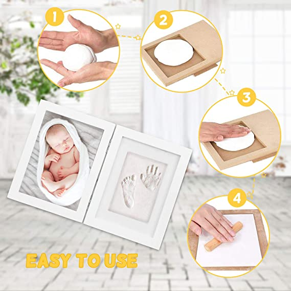 Marco foto huella bebé LENBEST, marco foto huella, pasta para huellas bebe - Kit de marco de foto recién nacido Regalos de ducha para registro de ...
