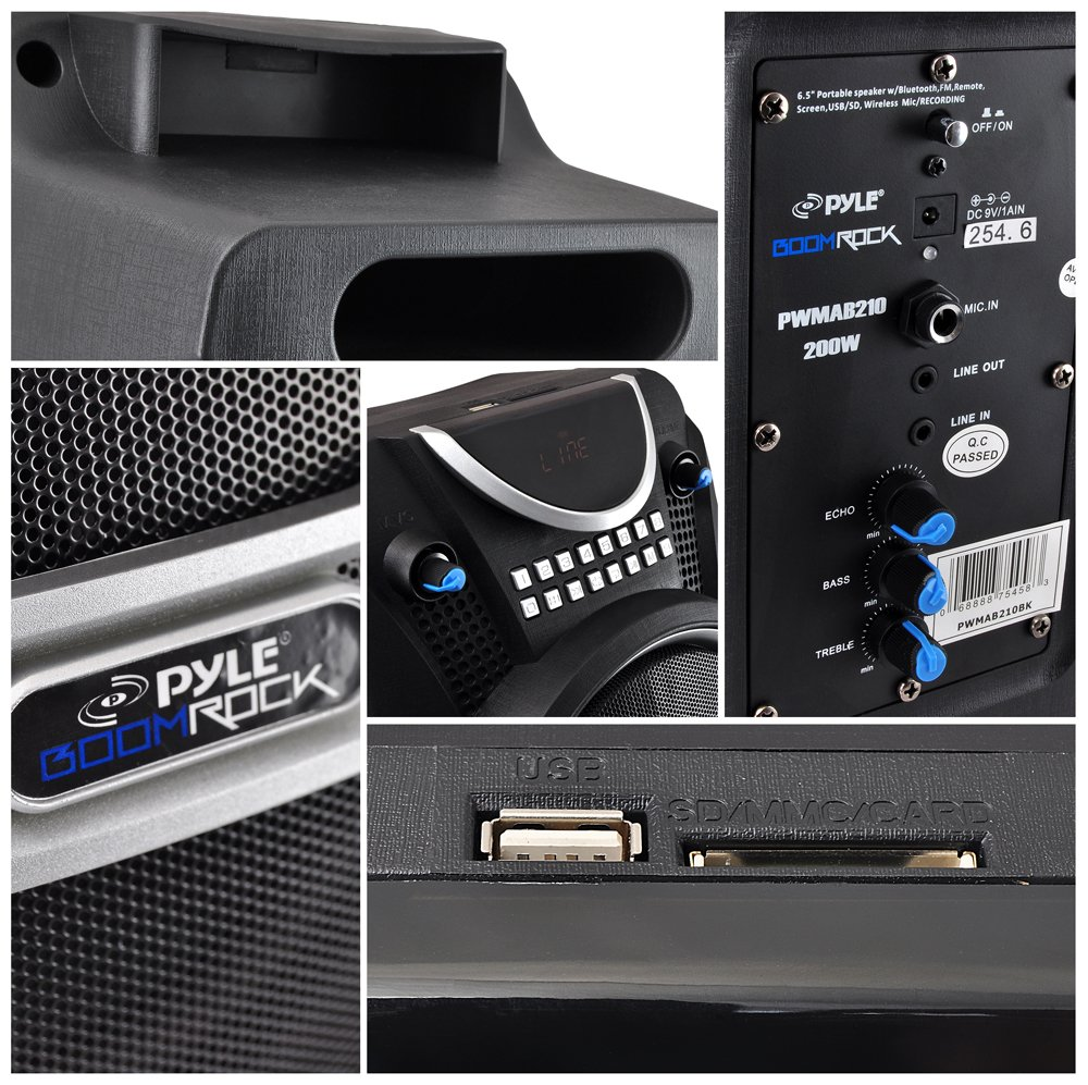 PYLE PWMAB210BK Boom Rock Bluetooth Karaoke Speaker Recording System, Rechargeable Battery, Wireless Mic by Pyle (Image #5)