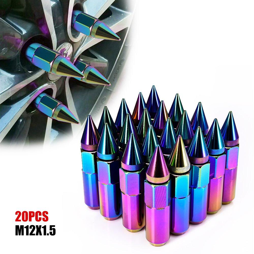 ACUMSTE 20Pcs Spike Lug Nuts, Aluminum M12X1.5 60mm Extended Tuner Wheels Rims Lug Nuts(Neo Chrome)