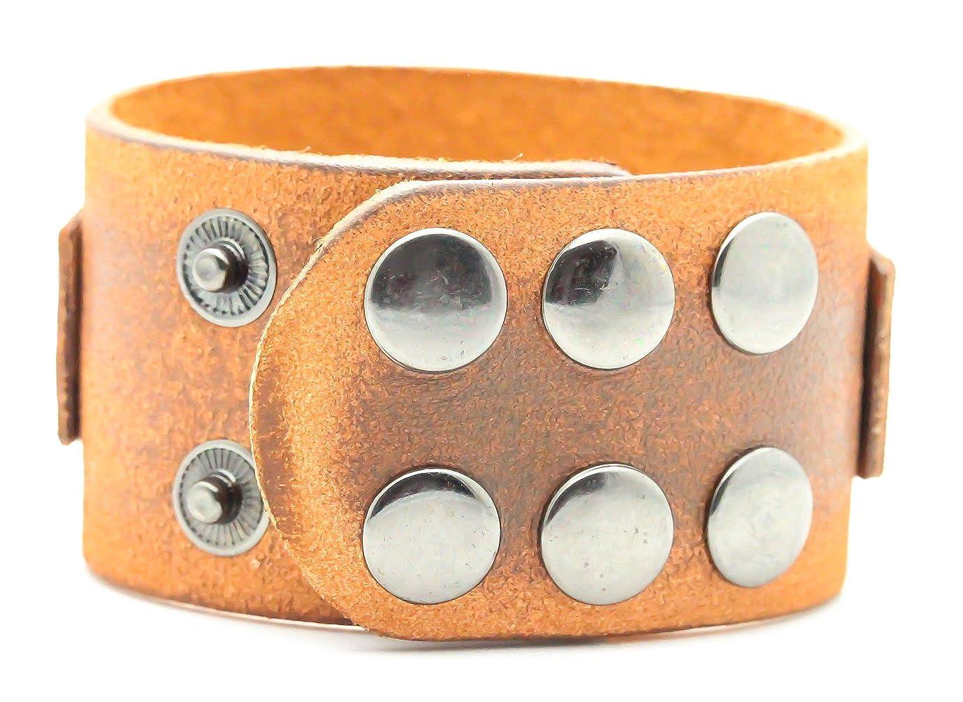 Fusamk Hip Hop Alloy Skull Rivet Snap Wristband Leather Bracelet Bangle,7.0-8.0inches