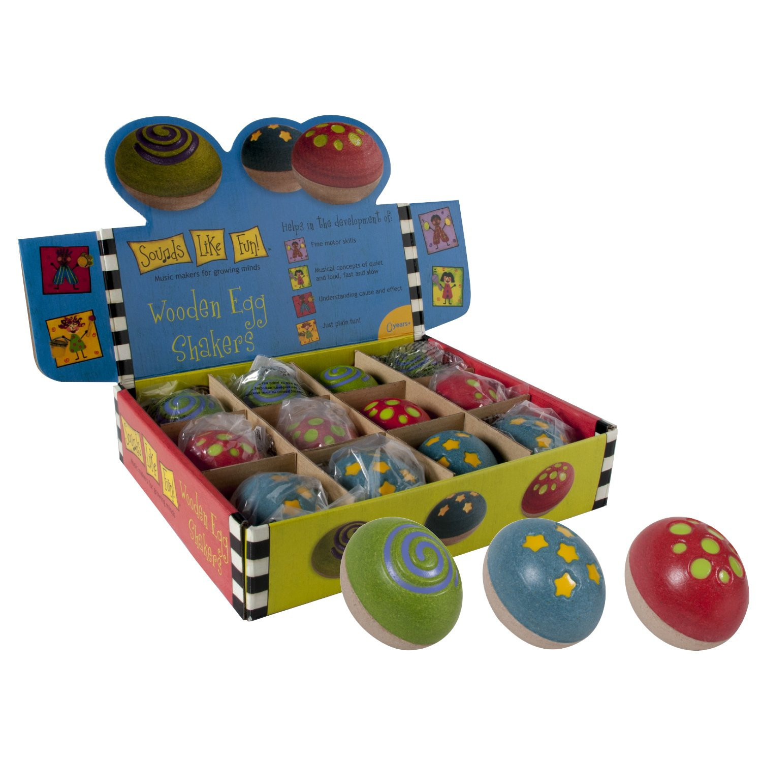 Sounds Like Fun Wooden Egg Shakers (Set of 12; Age 0+) by Sounds Like Fun