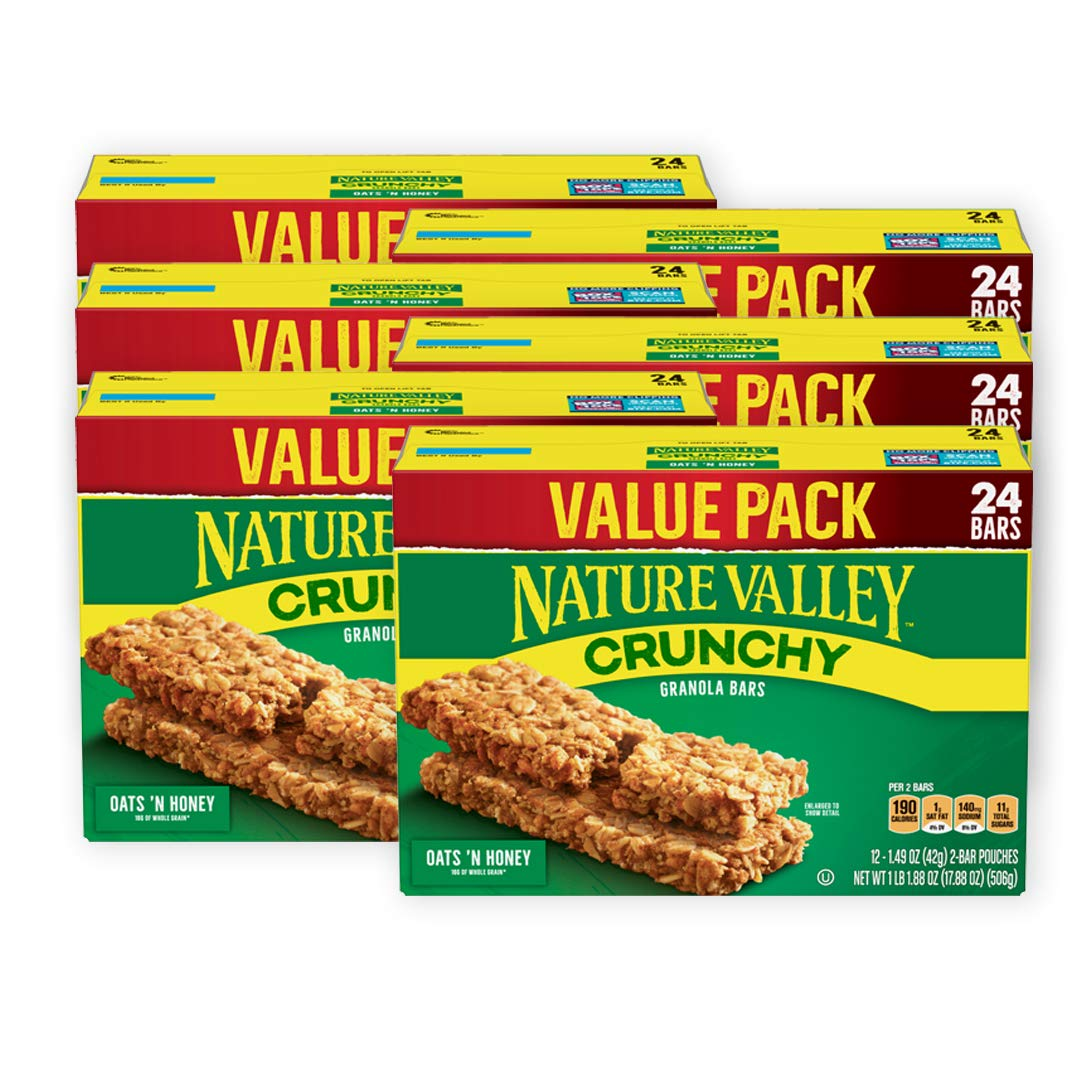 Nature Valley Granola Bars, Crunchy Oats 'n Honey, 17.88 oz, 6 Boxes