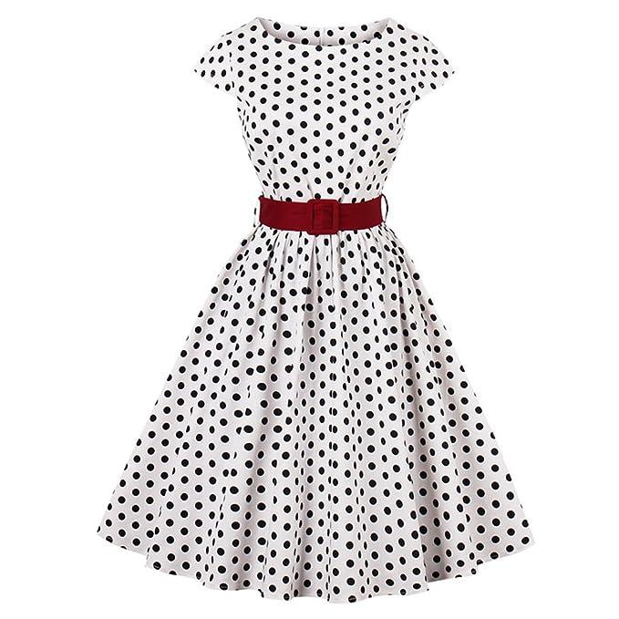 Yiiquan Mujer Vintage Vestido Estilo Hepburn Punto de Ola Diseño de Costura Big Swing Dress (