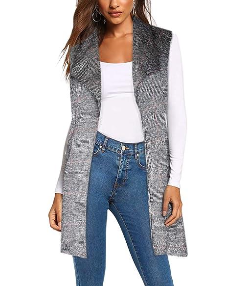 Amazon.com: Chaqueta de chaleco para mujer con cinturón de ...