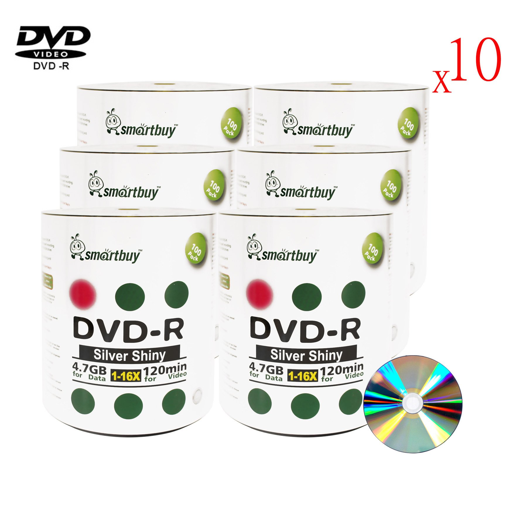 Smart Buy 6000 Pack Dvd-r 4.7gb 16x Shiny Silver Blank Data Video Movie Recordable Media Disc, 6000 Disc 6000pk