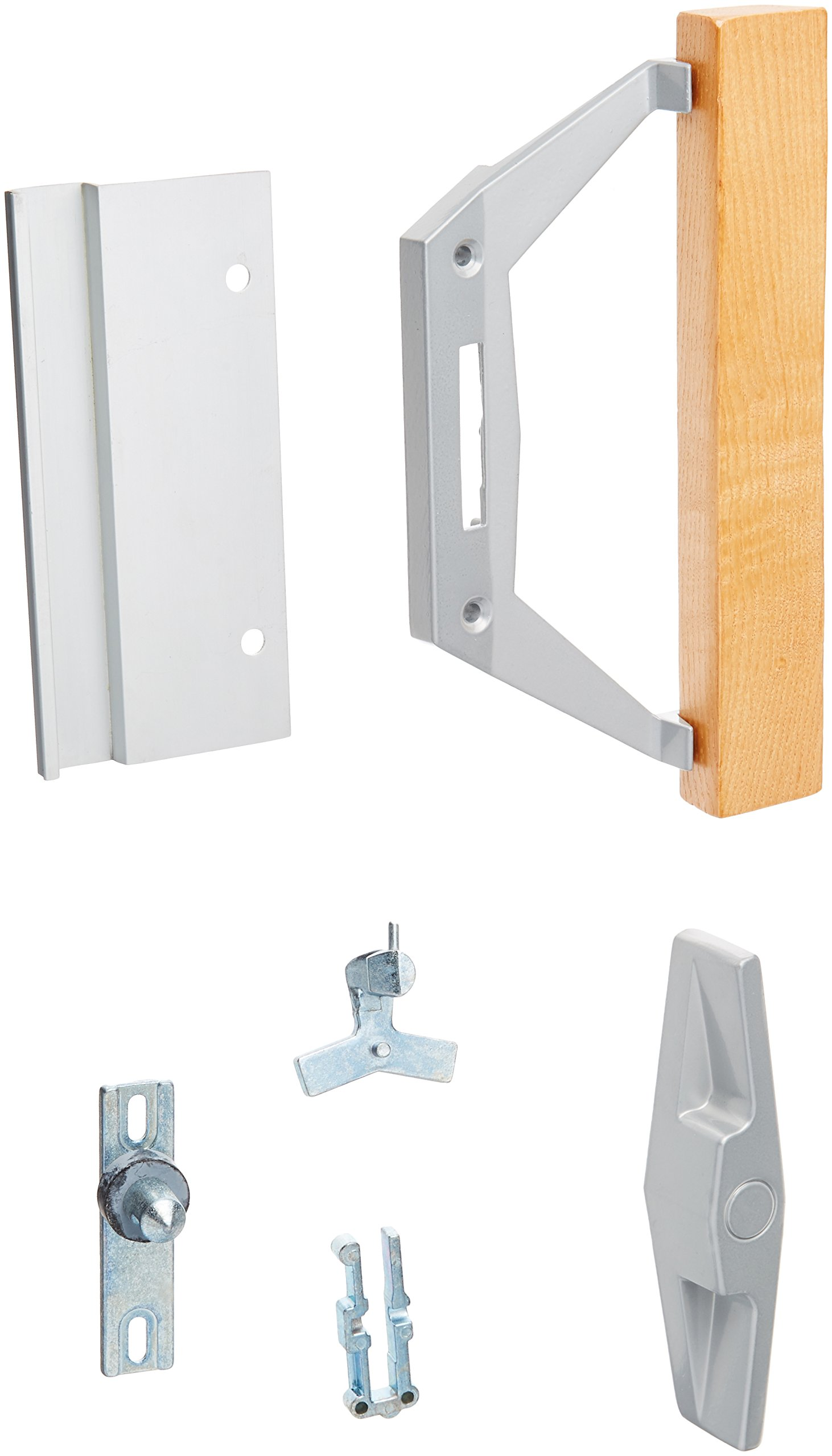 Prime-Line Products C 1186 Patio Door Handle Set with 3-1/2'', Diecast/Wood and Internal Lock, Aluminum