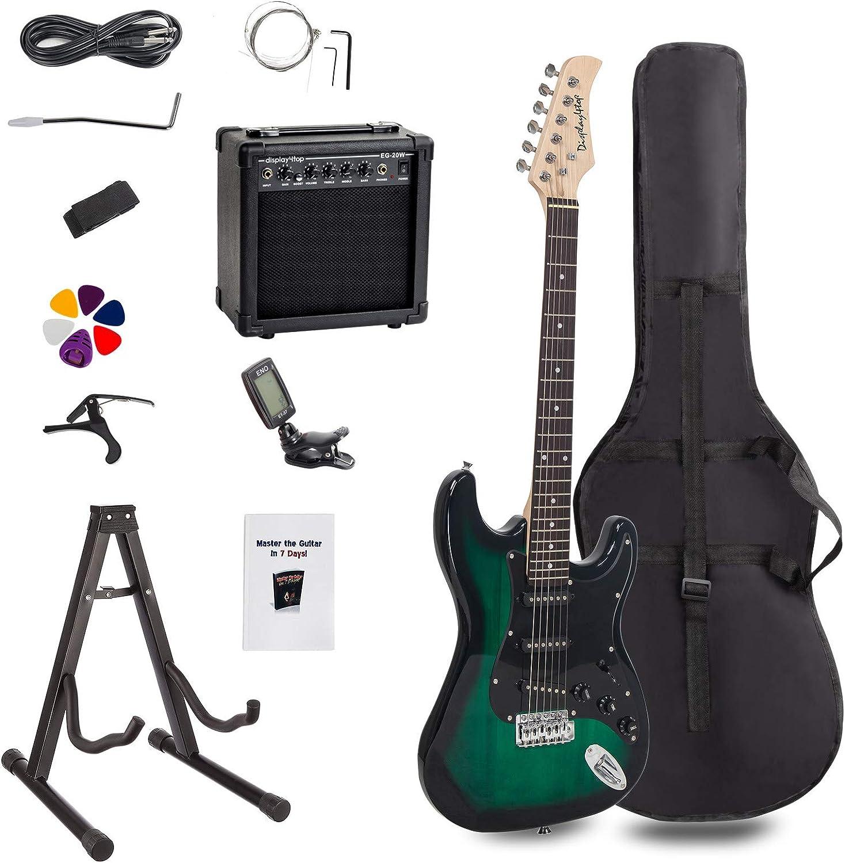 Display4top - Kit de guitarra eléctrica de tamaño completo para principiantes, incluye amplificador de 20 W, soporte para guitarra, bolsa, púa de guitarra, correa, cuerdas de repuesto, afinador
