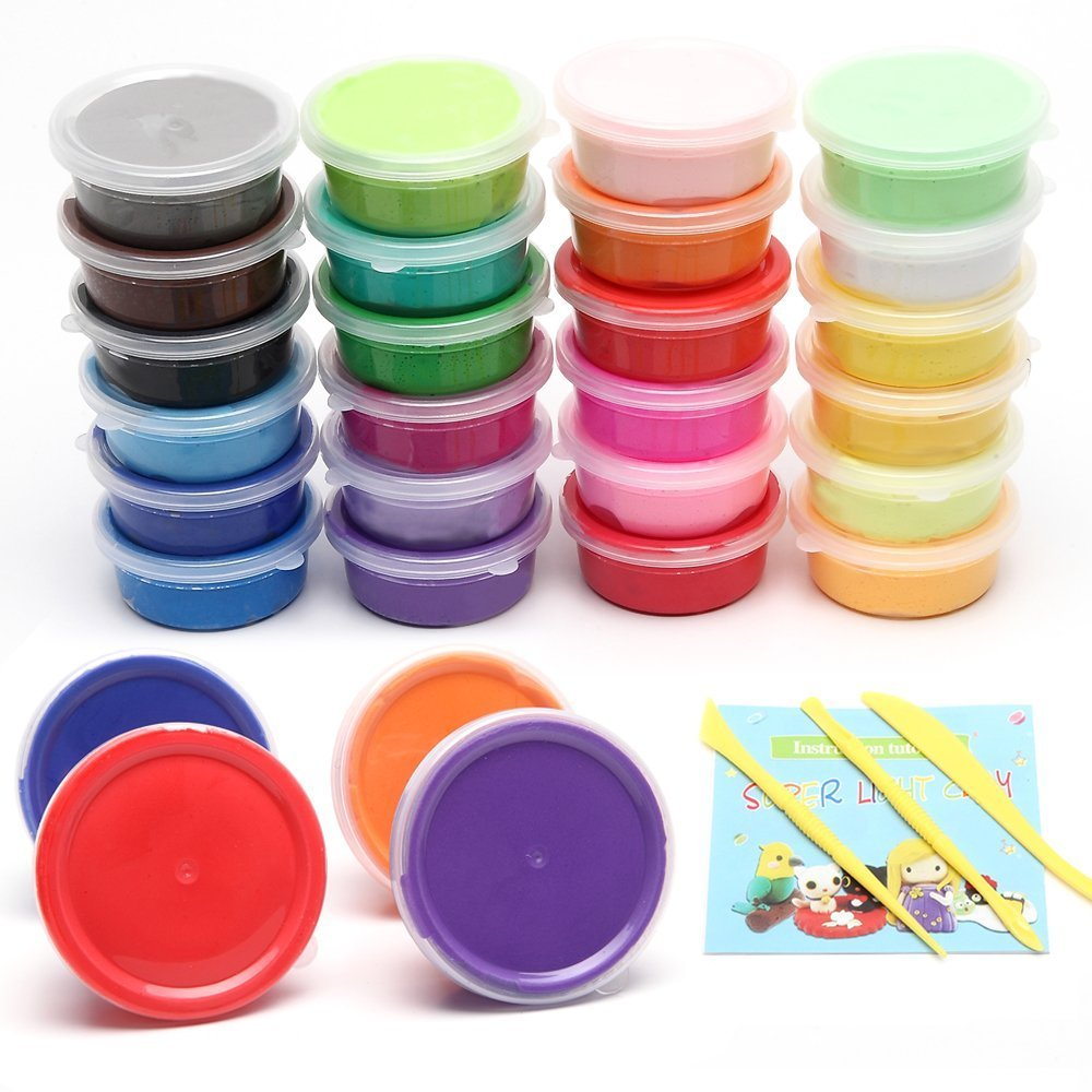 Gift for Kids, 24 Colors Modeling Magic DIY Super Light Clay, Air Dry Clay, Non-Sticky and Non-Toxic Scented Yishuiwenfeng Trading Co. Ltd.