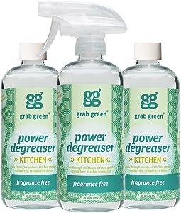 Grab Green Natural Power Degreaser, Biodegradable, Residue & Streak-Free Finish, Fragrance Free, 16 Ounce Bottle (3-Pack)
