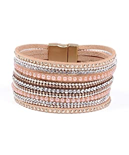 Artilady Leather Wrap Bracelet for Women - Handmade Clasp Bangle Bracelet with Pearl Druzy Crystal Wristbands Jewelry Gift for Sisters, Teen Girls and Mother (Shining Pink)