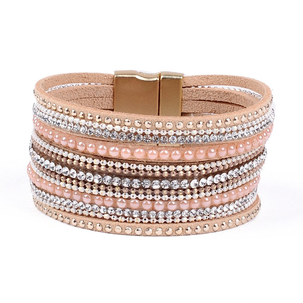 Artilady Shinning wrap Clasp Bangle Women (Pink)